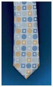 BCBG Attitude Tie Classy Polka Dot White Blue Gold Silk Hand Sewn 58 x 3.5 New