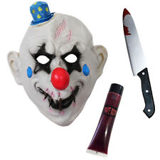 STITCHED CLOWN MASK HALLOWEEN SET LATEX SCARY HORROR FANCY DRESS PARTY KNIFE
