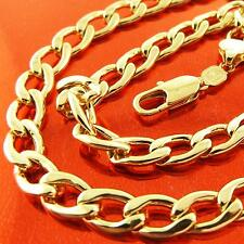 Fsa166 Genuine Real 18K Yellow Gold G/F Solid Mens Classic Curb Necklace Chain