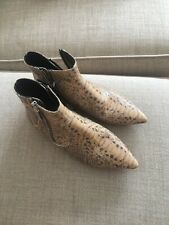Isabel Marant Snakeskin Ankle Flat Boots Size 37 New With Tags