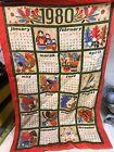1980 Calendar Wall Hanging Irish Linen Fabric Lucerne By Ulster Ireland