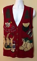 Northern Isle Hand Embroidered Knit Maroon Sweater Vest Hiking Outdoor Camping M