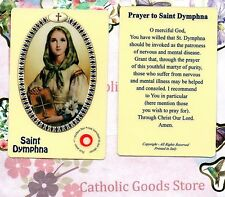 St. Dymphna (Patron of Stress, Anxiety & Mental Heath) - Relic Plastic Holy Card