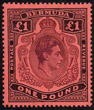Bermuda 1943 £1 pale purple & black / pale red, MH (SG#121b)