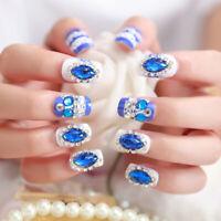 24pcs DIY Rhinestone False Nails Full Cover Bride Beauty Nail Art Tips Fake   G3