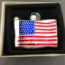 American Flag Glass Christmas Ornament USA Patriotic Bella Lux  NEW