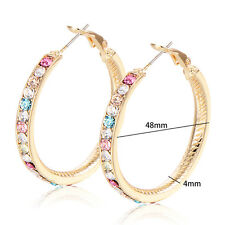 18K Gold Plated Big Cubic Zirconia Statement Huggie Hoop Earrings Lucky Gifts