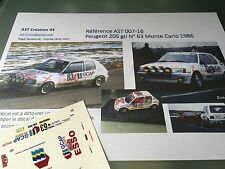 Decalc Calca 1 43 PEUGEOT 205 GTI N°63 Rally WRC monte carlo 1986 montecarlo