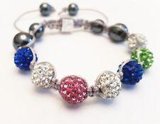 Shamballa Damen Armband Strass Glitzer Kristall pink blau silber grün bunt neu