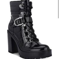 NIB $90 GBG GUESS Sellur High Heel Platform Women's Black Patent Booties US 10 M