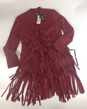 NEW INC Faux Suede Leather Coat Size Small S Burgundy Red Fringe Open Jacket$199