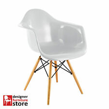 Replica Charles Eames DAW Armchair with Beech Wood Legs - White (ABS Plastic)