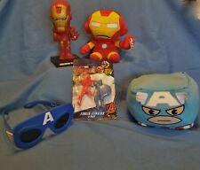 Marvel Toys-Capt America Plush/Glasses, Iron Man Beanie/Toy, Finger Flingers-NIP