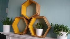 *3* WOODEN HEXAGON SHELVES HANDMADE SCANDI ART DISPLAY RETRO GEOMETRIC MUSTARD.