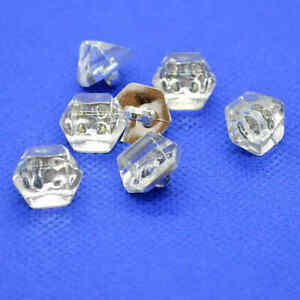SILVER BASE WITH CLEAR HEXAGON TOP SHANK BUTTONS 14mm