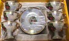 Gift Plus Fine Porcelain Set 6 Tea Cups & Saucers - Gold Rim & Opalescent Sheen
