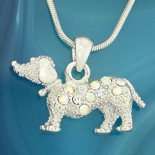 Dog Dachshund Doxie AB W Swarovski Crystal Puppy Pet New Pendant Necklace