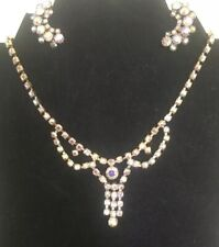 Beautiful Vintage AB rhinestones Necklace and earrings True Vintage