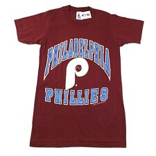 Vintage 1987 Philadelphia Phillies Mens S Red T Shirt Spellout Single Stitch NWT