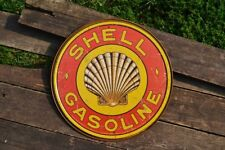 Shell Gasoline Tin Metal Sign -  Shell Motor Oil Company - Gas - Retro