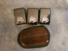 LOT OF 3 Sailor Jerry LUCKY Cards FLIP TOP FLINT Lighter & LEATHER CASE - NEW