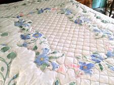 """Vintage Applique Quilt Blue Pink Florals Green Vines Foliage 88"""" x 85"""""""