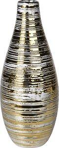 27cm Tall Elegant Bottle Flower Vase Striped Gold Ceramic Table Flower Vase