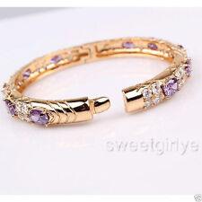 Hot Sale! Pretty Openable Bangle 18k Yellow Gold GF Hinged Womens Bracelet