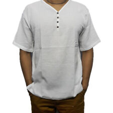Large Big Over Size Men's Shirt V-Neck Thai Cotton Casual Summer Beach Top White