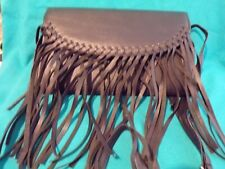 Very nice Fringed Black Imitation Leather Hippie Purse NEW w/ long handle strap