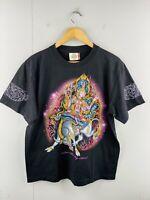 Rock Eagle Men's Vintage Short Sleeve Crew Graphic Temple T Shirt Size L Black