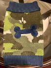 Dog Sweater Green Camo Design W/ Navy Blue Bone On Back New W/O Tags Size XXS