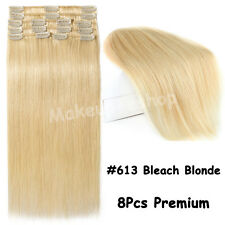 """Clip in 100% Real Remy Human Hair Extensions Full Head EP Weft 16""""18""""20""""22"""" US"""