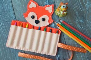 Fox Crayon Holder Felt Animal Organizer roll up case Art supplies Kids traveling