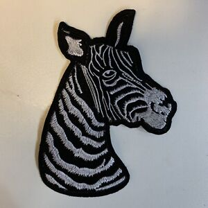 Large Zebra Big Embroidered Sew On Patch Applique Badge New