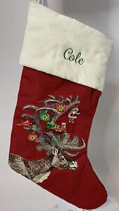 Pottery Barn Reindeer Deer  Stocking Christmas Red Mono Cole NWT