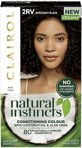 Clairol Natural Instincts Burgundy Black 2RV Blends Away Grey Lasts 28 Washes