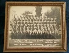 FRAMED VINTAGE 1949 USMC PLATOON PHOTO / PLATOON 32 Marine Corps Recruit Depot