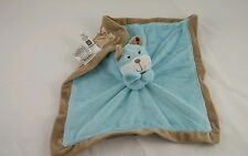 """Carters Blue Brown Puppy Dog Baby Security Blanket Lovey Rattle Satin 15x15"""""""