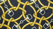 PAOLO GUCCI ITALY BLACK YELLOW CHAIN PATTERN SILK NECKTIE TIE MAP2917B #I05