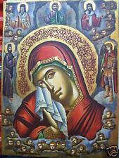 VIRGIN MARY IN HEAVEN HAND PAINTED GREEK   ICON
