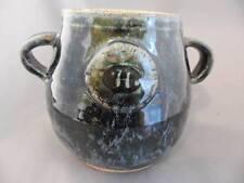 "Pottery Jug: Signed Hand Crafted Teal Glazed 2-Handled  ""H"" Monogram"