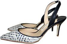Manolo Blahnik Caroline 90 Tejido Zapatos Salón Puntiagudo con Correa Al Talón