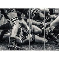 Rugby Football Close Up Scrum Wall Art Multi Panel Poster Print 47X33 Inches