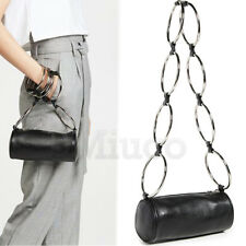 Womens Metal Donut Ring Handbag Round Bucket Cross Body Bags Chain Shoulder Bags
