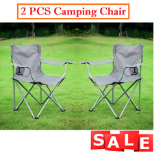 2 PCS Camping Chair Quad Folding Portable Stool Seat Camp Outdoor Steel Frames