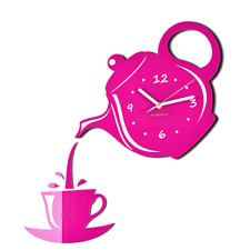 Modern Large Pink Silent Wall Clock Home Decoration Kitchen Dining Room Jug&Cup