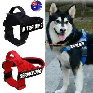 AU Nylon Pet Reflective Service Dog Harness Handle Training Vest &2Patches S/M/L