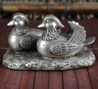 Chinese Fengshui Tibet Silver Carved Mandarin Duck paddle happiness Love Statue