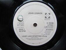 """JOHN LENNON just like starting over-Kiss Kiss Kiss Geffen 7"""" Excellent"""